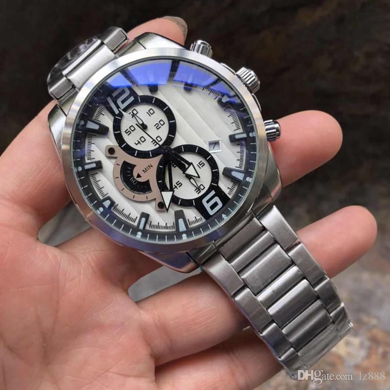 En Lüks Erkek Spor Saatler Tasarımcı Marka Kuvars İzle Moda Paslanmaz Çelik Erkekler Askeri Chronograph saatı orologio di lusso