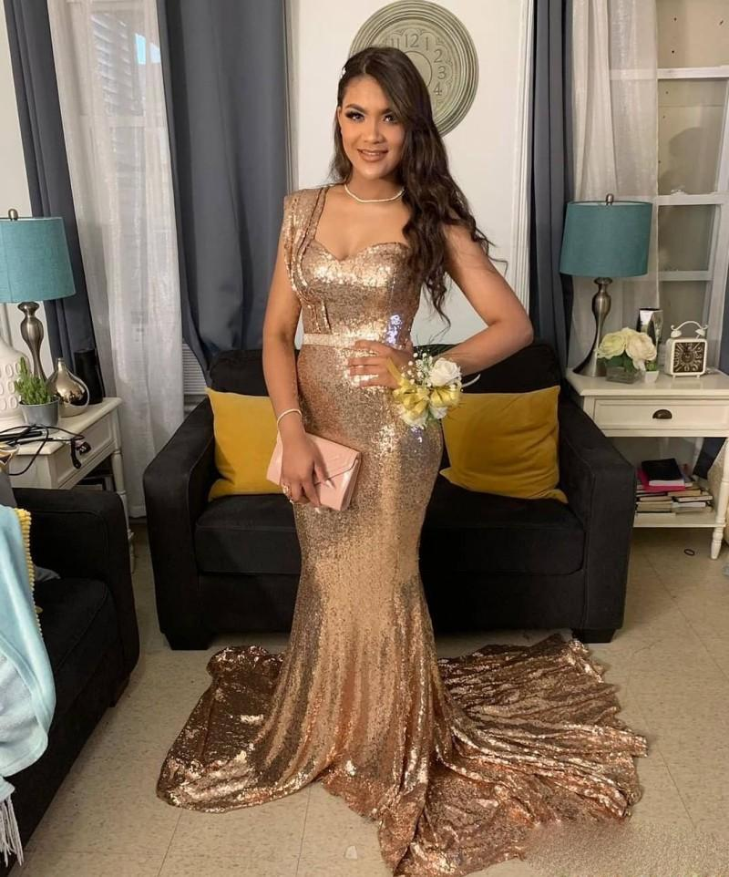 Gold Prom Evening Dresses 2020 Robe De Soiree Sequined Long Evening Party Gowns