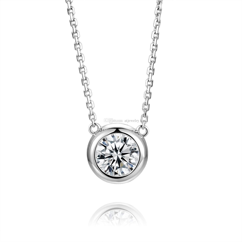 Новый Муассанит алмазный кулон ожерелье 18K белого Real чистого золота Ожерелье для женщин engament фабрика ювелирных изделий оптовой с сертификатом