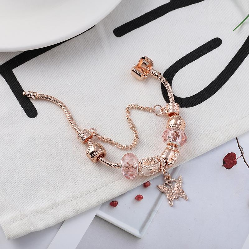 BRACE CODE Rose golden butterfly Charm Bracelet With An crown Beads Fits Pandoro Bracelet Women Party Jewelry Dropshipping