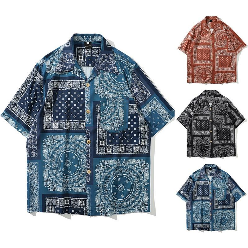 Retro Print Men Casual Shirt Lapel Neck Short Sleeve Loose Tops Streetwear Hawaiian Shirt Men
