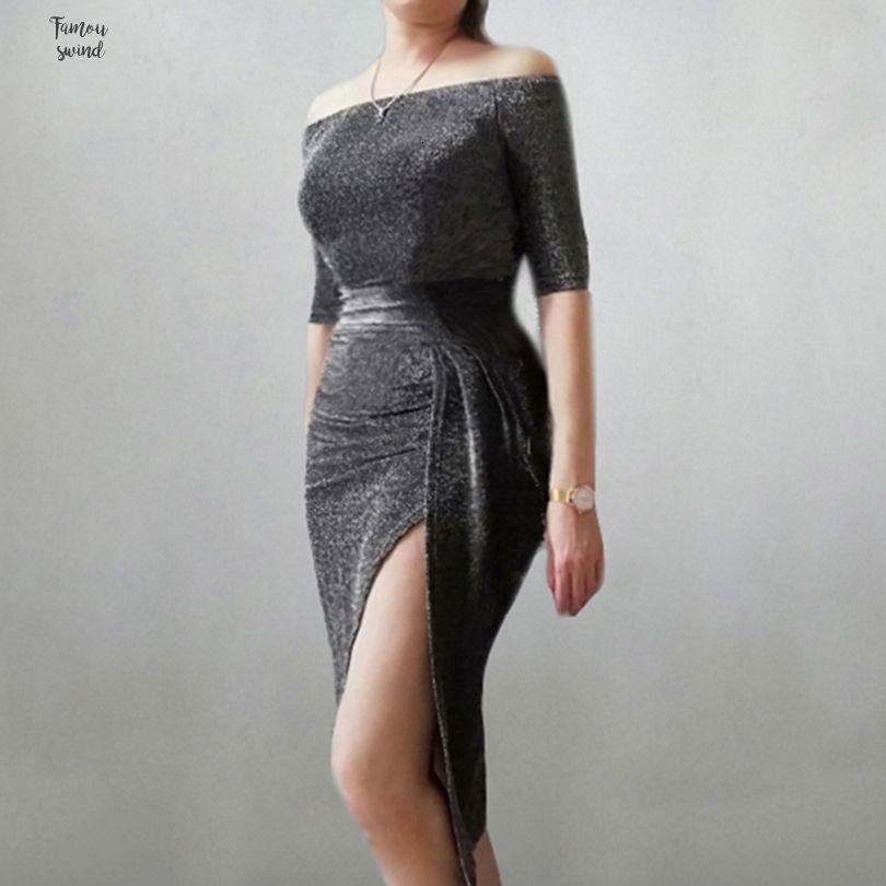 2019 verano vestido de las mujeres de la raya vertical de la cadera Cuello Separación del Paquete partido de las señoras de la lentejuela atractiva la linterna de la manga club de noche del vestido de media pantorrilla