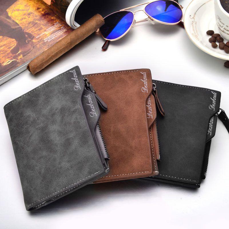 Simple Homme d'affaires souple imperméable solide Coins portefeuille de cartes de poche en faux cuir crédit Porte Purse postal