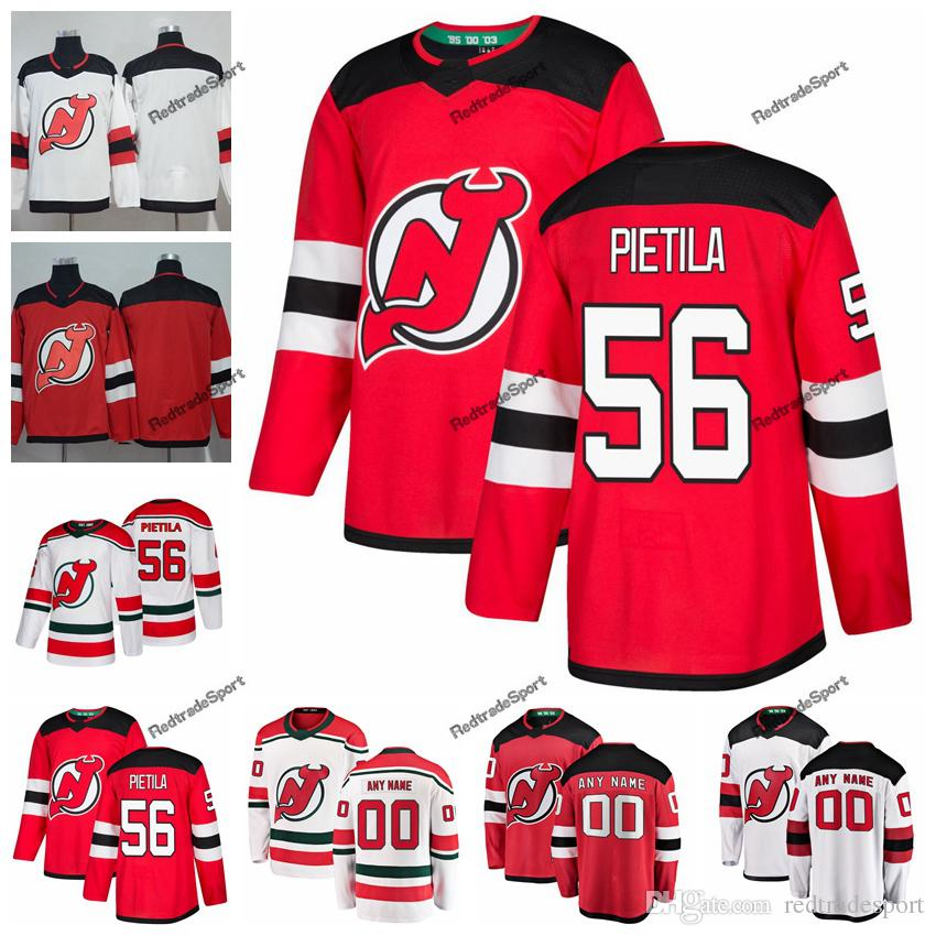 Chandails de hockey Devils du New Jersey 2019 Blake Pietila Nom personnalisé Alternate White Red # 56 T-shirts de hockey surpiqués Blake Pietila S-XXXL