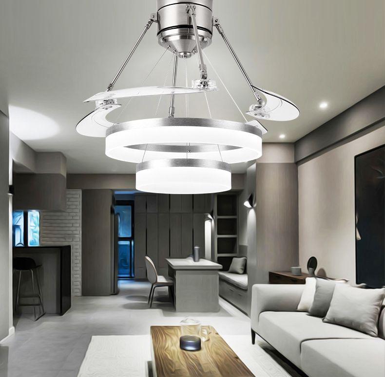 lustre moderne décollage ventilateur lampe ventilateur de plafond créatif lampe ventilateur invisible salon chambre salle à manger maison lampes suspendues