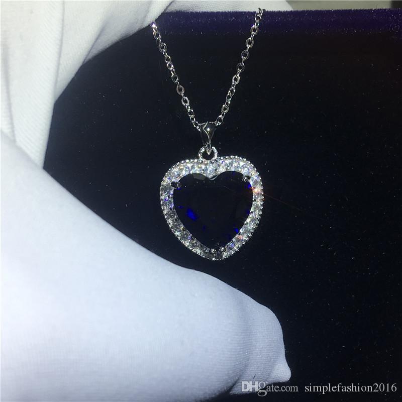 Oceanheart kate winslet pingente com colar de prata esterlina 925 azul 5A zircão cz de casamento de noivado pingentes para as mulheres presente