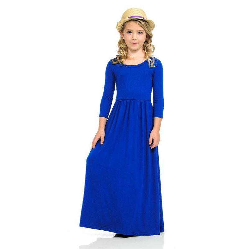 New Arrival Girls Dresses Children Long Sleeves Soft Long Maxi Dress Fashion Holiday Beach Girls Dresses
