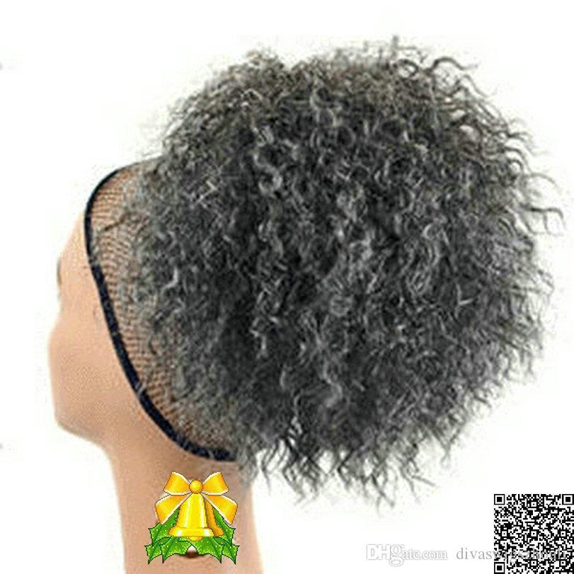 Cute donna grigio capelli prolunga prolunga argento grigio afro soffiatore riccio riccio coulisse riccio coulisse in counti di cavallo in piedi in capelli reali 120g