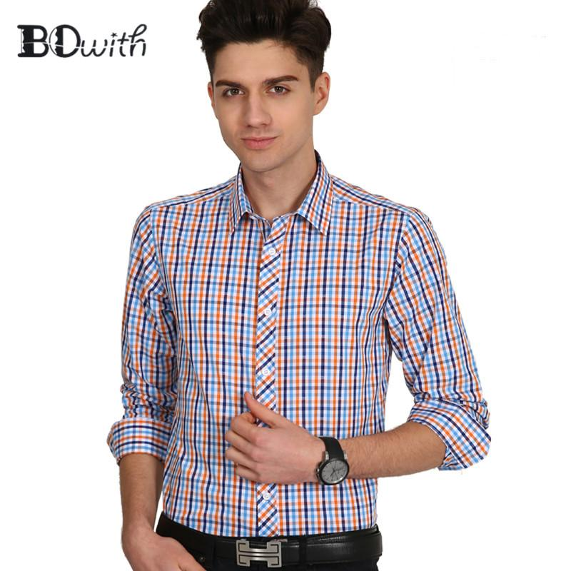 Cotton Orange Blue Grid With Long Sleeve Square Collar Shirt Men Solid Shirt Non Iron Slim Fit Business Shirts Formal 4XL