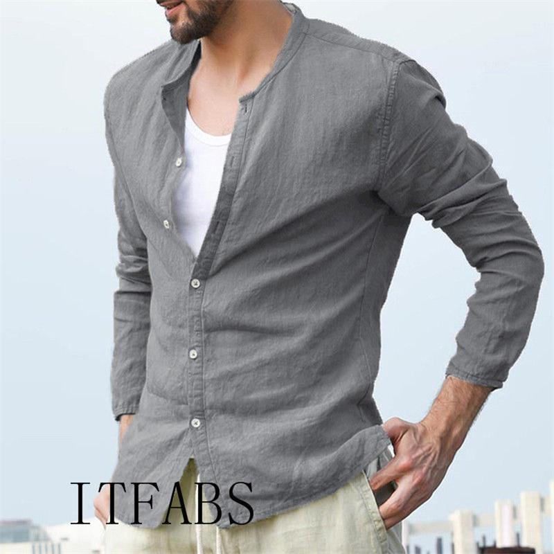 Erkekler Gömlekler Avrupa Boyutu Yeni Gelenler İnce Keten Fit Erkek Gömlek Katı Uzun Kol İngiliz Stil Pamuk Erkek Gömlek