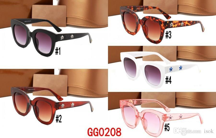 MOQ = 10pcs, 0208 큰 사각 색안경 브랜드 디자이너 여성 남성 패션 스타일 PC 프레임 태양 안경 운전 고글 그늘 안경