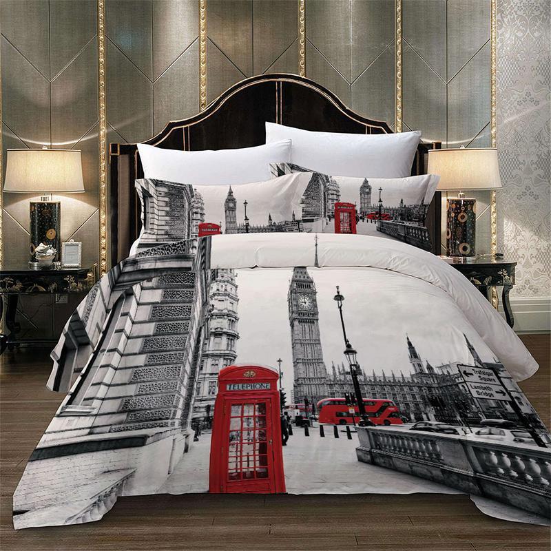 Paris Tower Londra Şehir Manzarası Big Ben Kırmızı Telefon Booth Otobüs Yatak Seti Yorgan Nevresim + Yastık Kılıfı ABD AU AB Boyut CY200519 yazdır