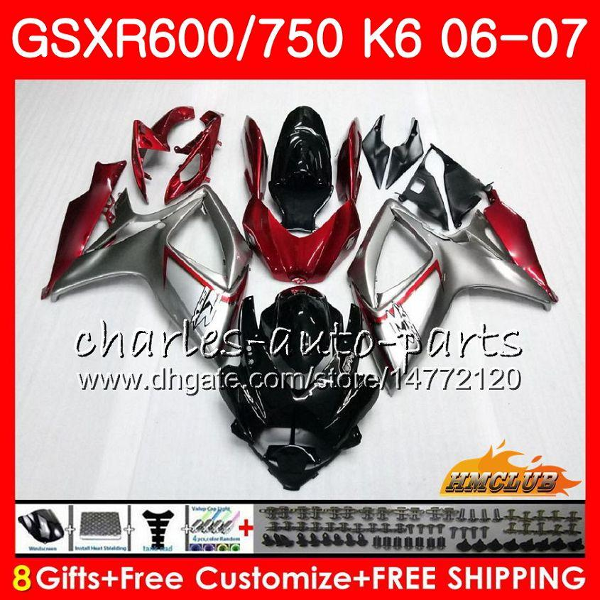 Body For SUZUKI Red grey stock GSX R600 GSX-R750 GSXR-600 GSXR600 06-07 8HC.25 GSX R750 GSXR 600 750 06 07 K6 GSXR750 2006 2007 Fairing kit