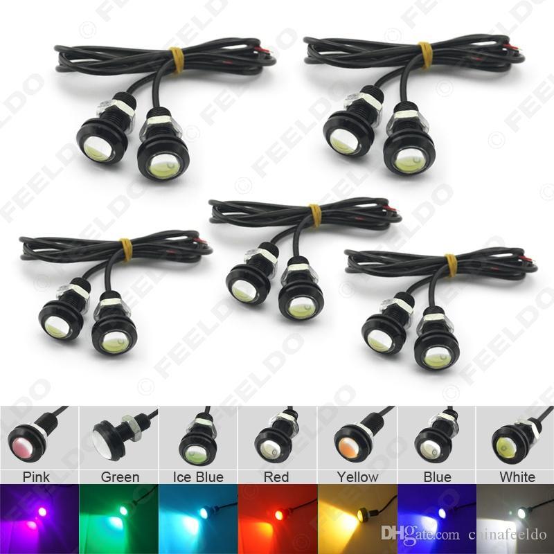 vente en gros puissance 3w lentille ultra-mince 18mm voiture LED eagle eye feu arrière sauvegarde arrière lampe DRL lumière 7 couleurs # 1020