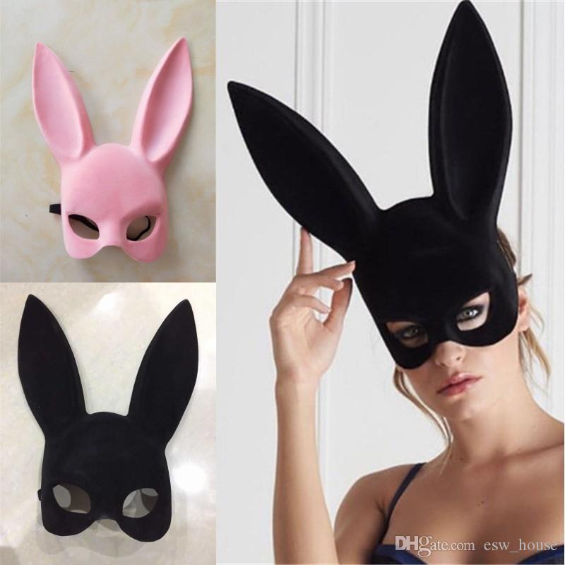آذان طويلة أرنب قناع الأرنب قناع حزب حلي تأثيري هالوين تنكر الوردي / أسود هالوين تنكر أقنعة الأرنب