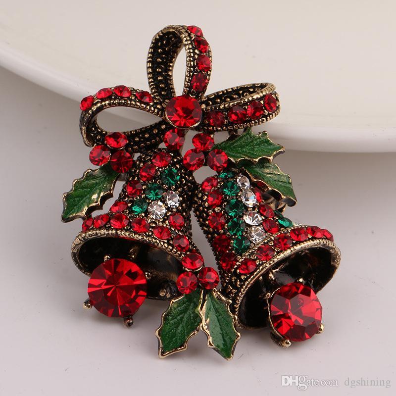 Noel Suit iğneler Antik Gümüş Altın Renk Kristaller Broş Broş Yeşil Emaye Yaprak Buket Rhinestone ilmek Bell Broş DHL