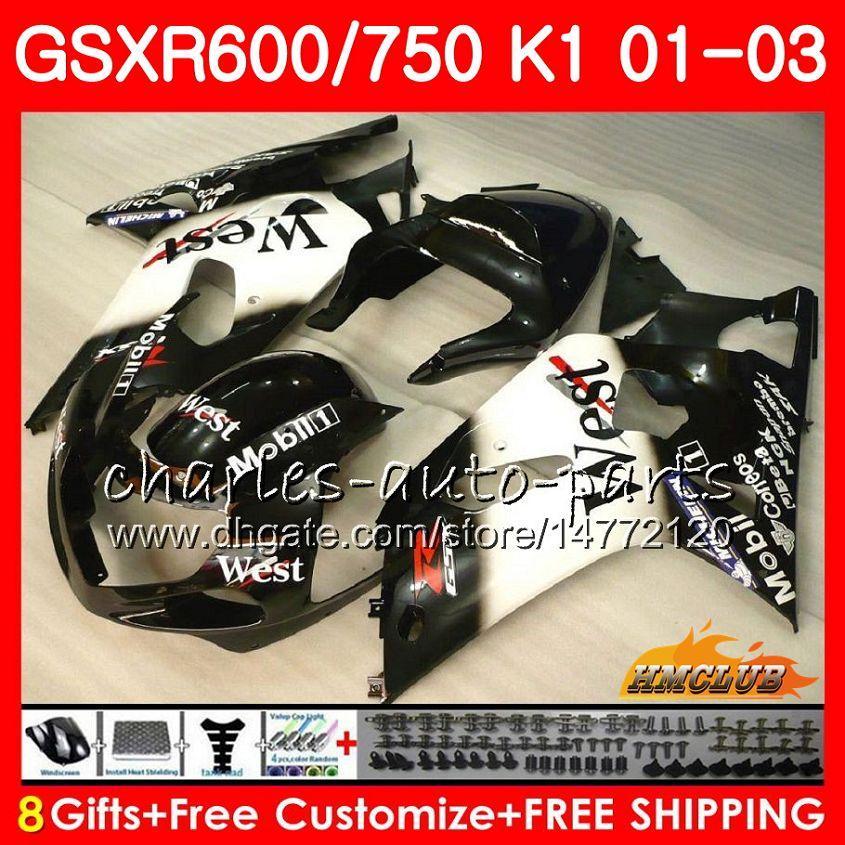 8Gifts Body لسوزوكي GSXR 600 750 Black west hot GSXR600 2001 2002 2003 4HC.41 GSX R750 GSXR-600 GSX-R750 K1 GSXR750 01 02 03 Fairing kit