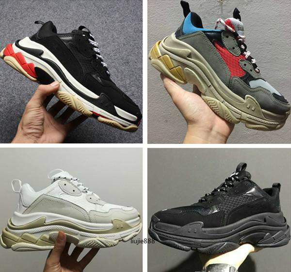 New 2020 Triple S Schuhe Männer Frauen Sneaker Qualitäts-Mischfarben-starke Ferse Grandpa Dad Trainer Triple-S Casual Schuhe Aufzug Schuhe