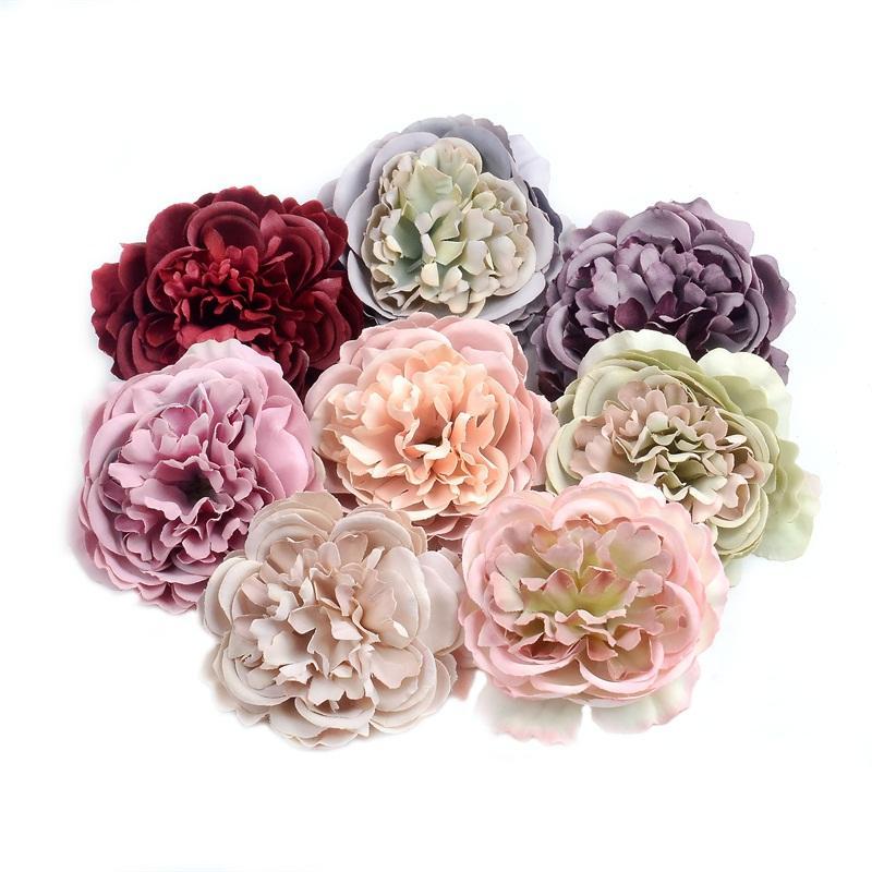 10pcs 8cm de fleurs artificielles en soie pivoine capitule Pour Fête de mariage Décoration bricolage mur boîte-cadeau Album-souvenir Craf