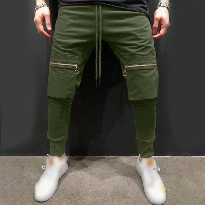 Pantaloni slim della metà di vita degli uomini Pantaloni Sport Sport elastiche Via Pantaloni Pantaloni sportivi per uomo