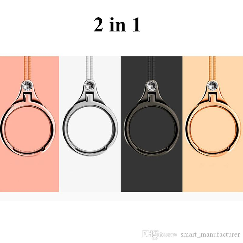 2 in 1 Cell Phone Ring Mental Kickstand String Finger Bracket Grip Strap Lanyard Sling Holder For iPhone Samsung Xiaomi Case