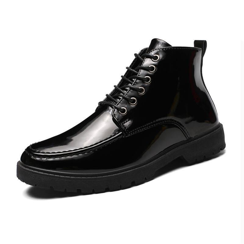 Moda uomo autunno della molla stivali da moto in pelle di vernice uomini di stile britannico gotiche Stivaletti punk nero spesso Shoes
