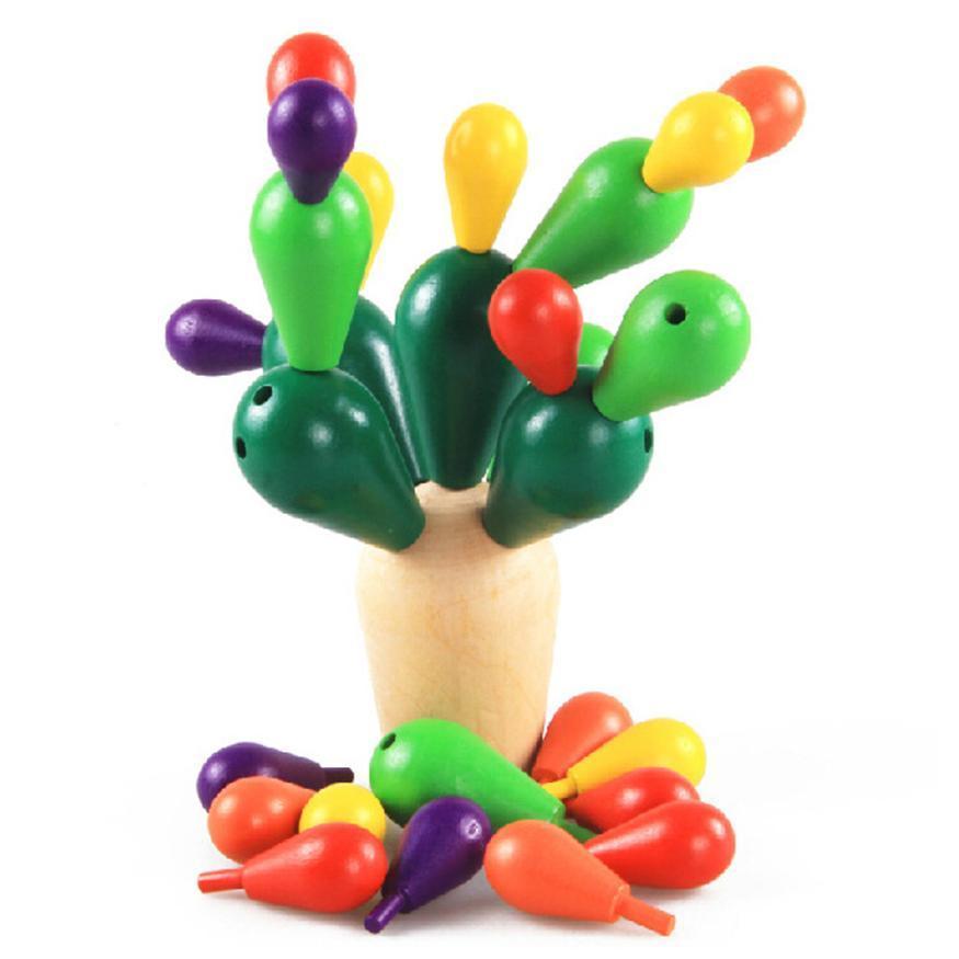 Criativas 0-3 anos presente Kid Brinquedos antigos mosaico de madeira Crianças Prickly Pear Cactus Blocos de madeira Mosaic Montagem de demolição aprendizagem brinquedos