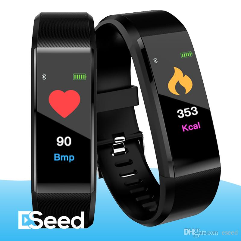 For Color Screen ID115 Plus Smart Bracelet Fitness Tracker Band Heart Rate Blood Pressure Monitor Wristband pk m3