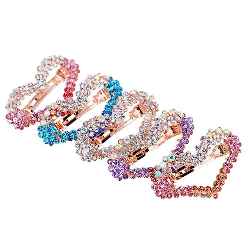 5 шт заколка для волос градиент цвета в форме сердца Rhinestone Шпилька заколки для волос аксессуаров Заколки для девочек женщин