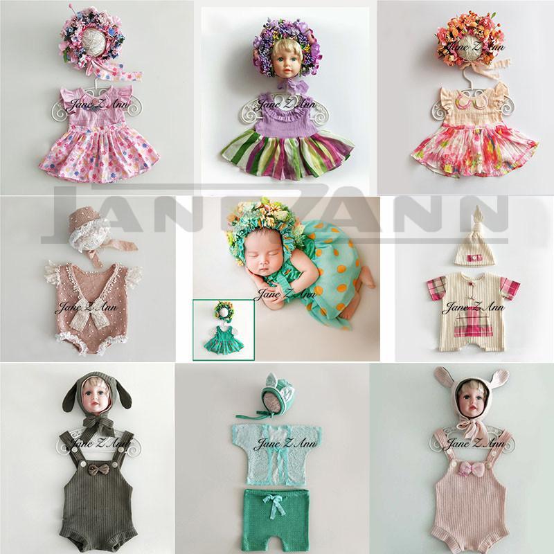 Jane Z Ann Bebé recién nacido Accesorios para bebés Estudio de fotografía Trajes Traje Sombrero de flores + vestido Ideas de imágenes creativas Accessoreis Q190521