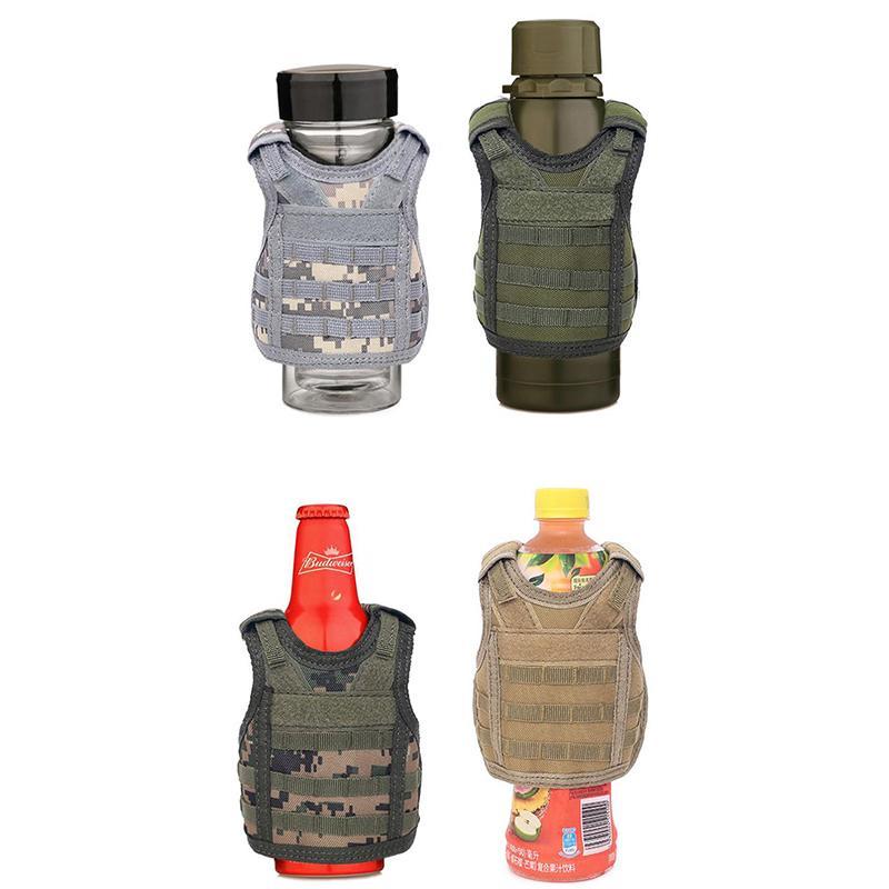 Beverage Koozie Vest Military Molle Mini Beer Cover Vest Cooler Sleeve Adjustable Shoulder Straps Beer Cover Bar Party Decoration