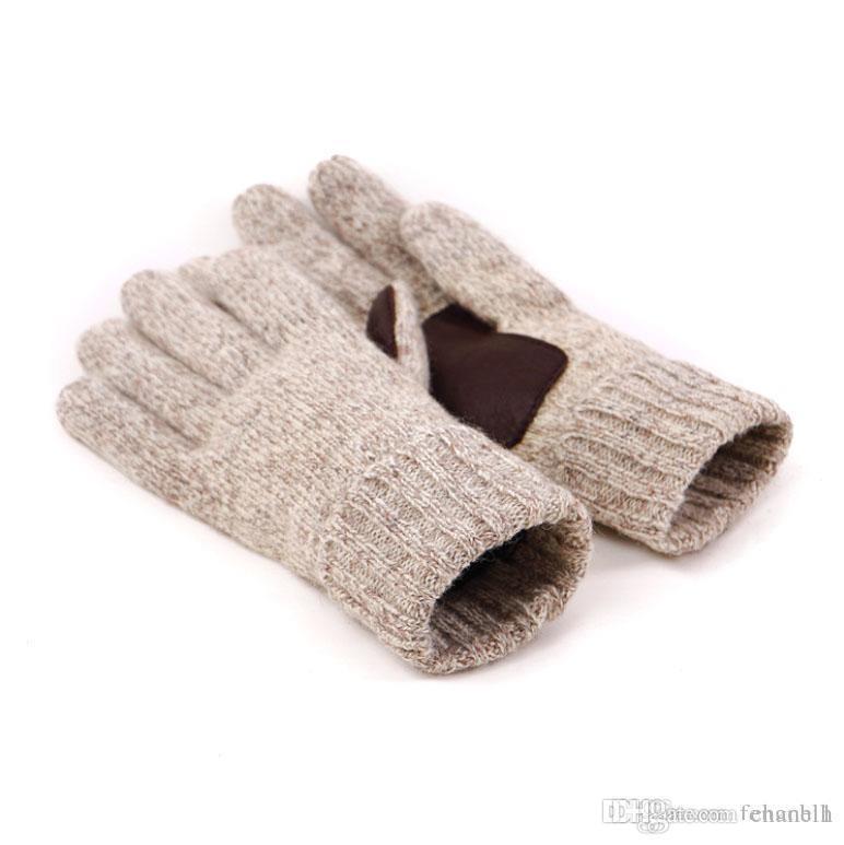 Guantes de punto para hombre de cinco dedos 2 Classic de color beige guantes grises de invierno 60% lana y cuero real antideslizantes manoplas