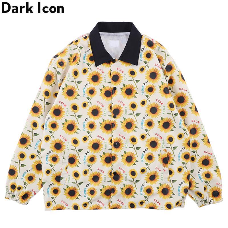 Dark Sunflower Boy Ветровка Куртка Мужская Верхняя Одежда Уличные мужские Куртки Хип-Хоп Куртки для Мужчин Желтый