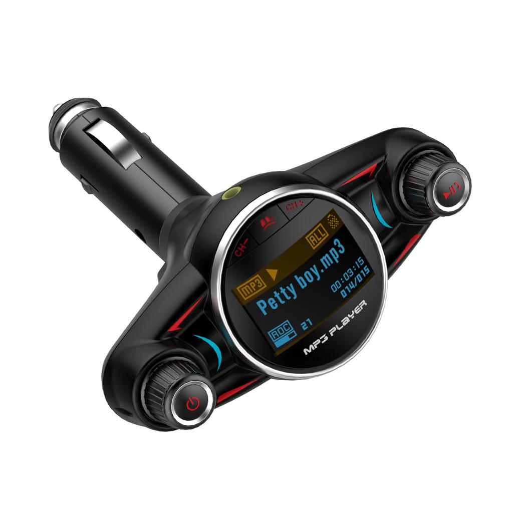 BT08 Bluetooth 4.0 Car Kit Handsfree FM Transmitter Wireless Car Mp3 Player Support Charging USB Round AUX Audio Enter Output