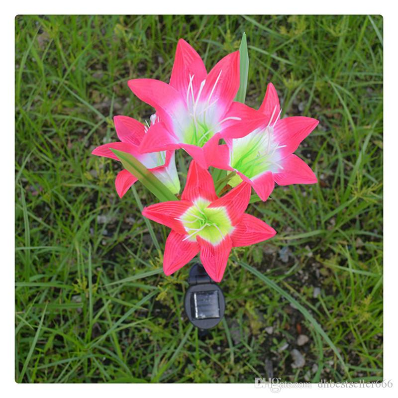 MaxSale Solar LEVOU Flor de Lírio Flor Lâmpadas de Gramado de Poupança de Energia LEVOU Lâmpada para o Partido Weddinng Alta Quatily 6 cor