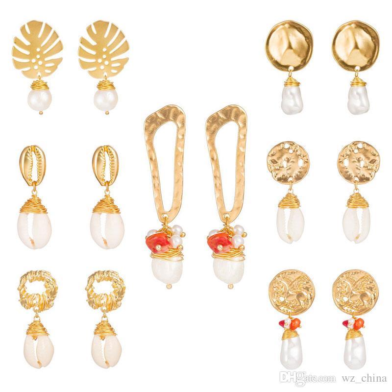 Kadınlar için İnci Eearrings 18 K Altın Desen Çiçek Kulak İğneler Düğün Küpe Takı Seçmek için Farklı Stilleri