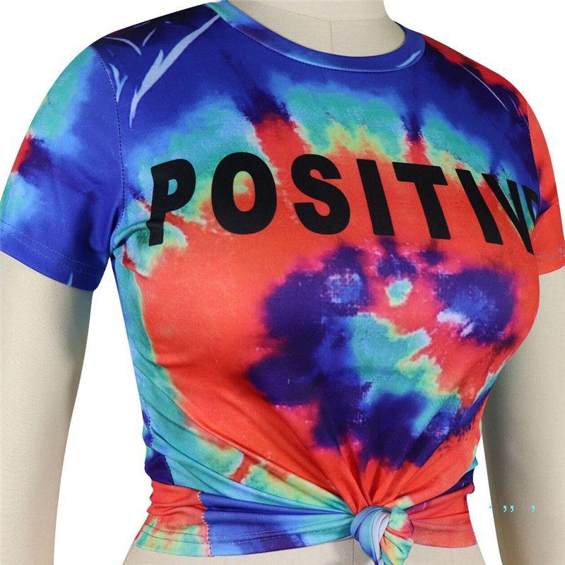 S-3XL Tie-dye Frauen Regenbogen-Farben-T-Shirt T-Short Sleeve Crop Top Lässiges T-Shirt T-Shirt Mujer Tops Hip Pop Street Aufmaß A42507