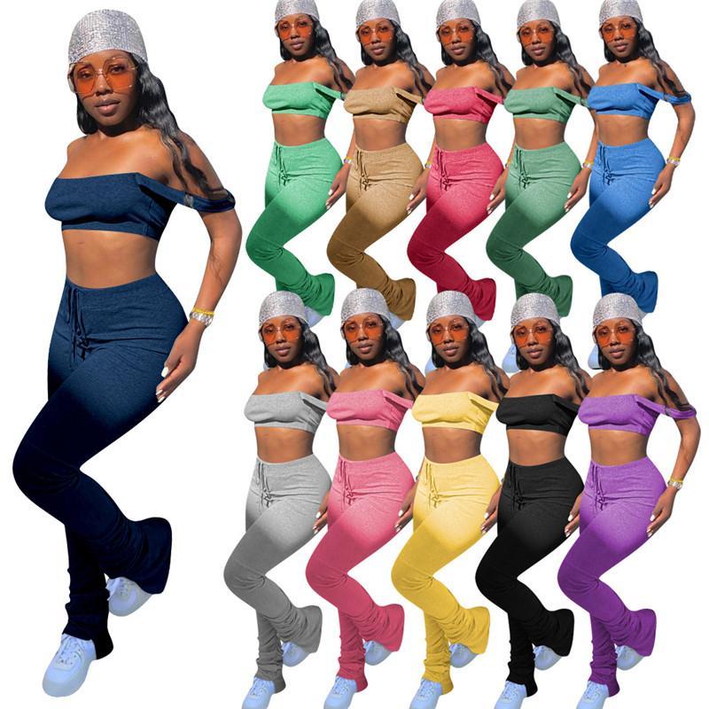 2 Stück Frauen Set Stacked Hosen Art und Weise reizvolles Sommer-Outfit Strapless Crop Top-lange Hosen-Zweiteiler Verein Tracksuits 10 Farbe