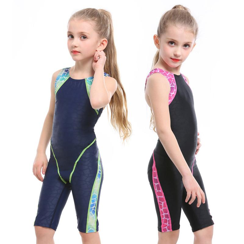 Professional Competitive One Piece Swimsuit for girls Swimwear kids XS BANFEI baby Swimming suit Trunks to knee bodysuit Wave