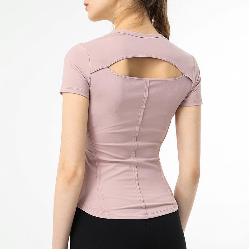 Nouveau style évider les États-Unis retour à manches courtes femmes veste de yoga T-shirt extensible vêtements de fitness femmes veste de sport mince