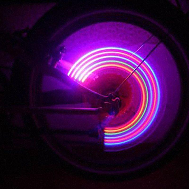Rueda de bicicleta de montaña 5LED luces LED de colores bicicleta de carretera impermeable Radios linterna de la bicicleta accesorios de ciclismo con la batería neumático T jfca #