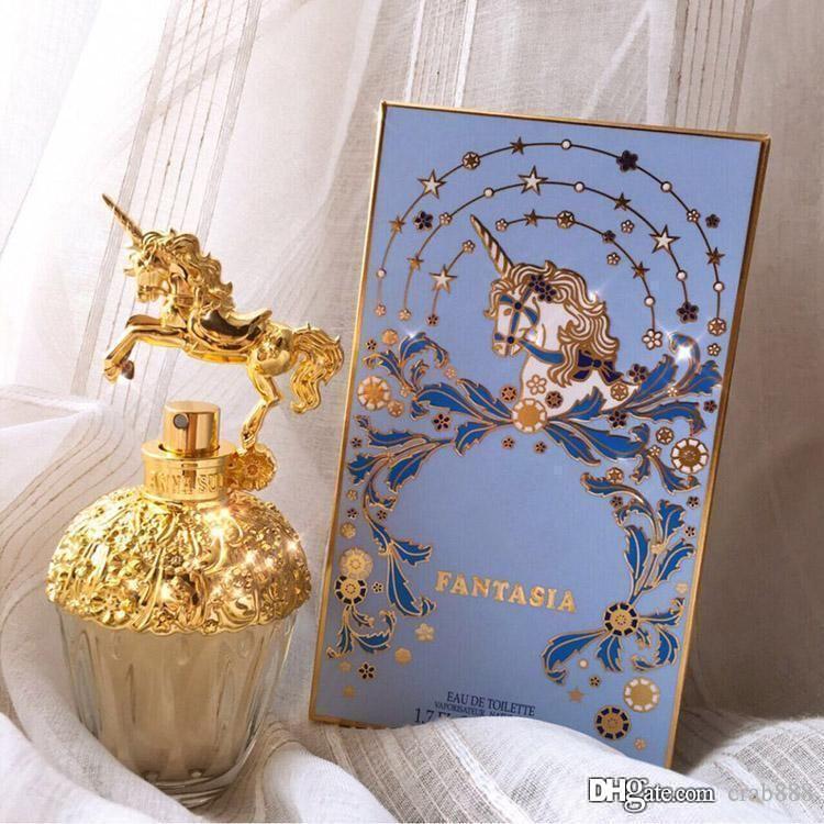 الراقية النساء العطور تصميم خاص يونيكورن زجاجة 75ML EDT الذهبي زجاج زجاجة رذاذ جودة عالية نفس العلامة التجارية شحن مجاني