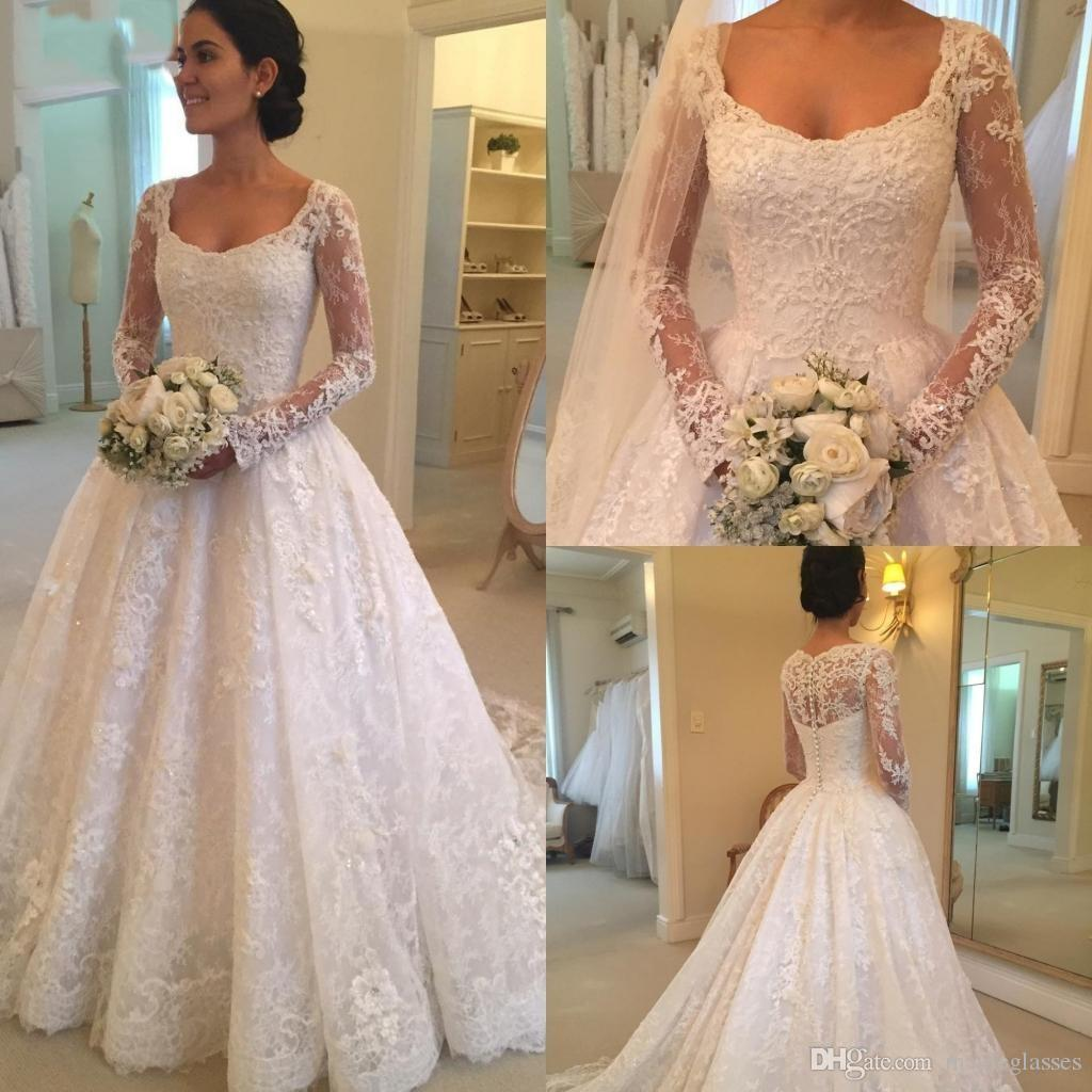 Discount 2019 Latest Sale Scoop Neck A Line Long Sleeve Lace Wedding Dresses Button Back Appliques Beaded Bridal Wedding Gowns Best Wedding Gown