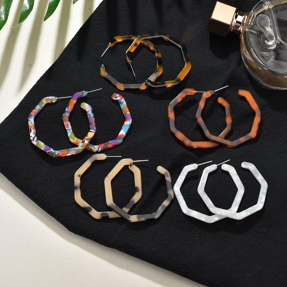 5 Cores Design Exclusivo Moda Hexágono C Estilo Brincos Leve Acrílico Geometria Brinco Jóias para As Mulheres