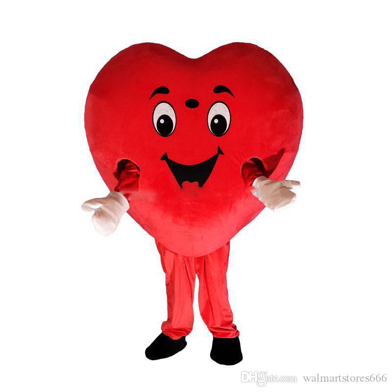 2019 завод горячего красное сердце любовь костюм талисмана ЛЮБОВЬ сердце костюм талисмана свободная перевозка груза может добавить логотип