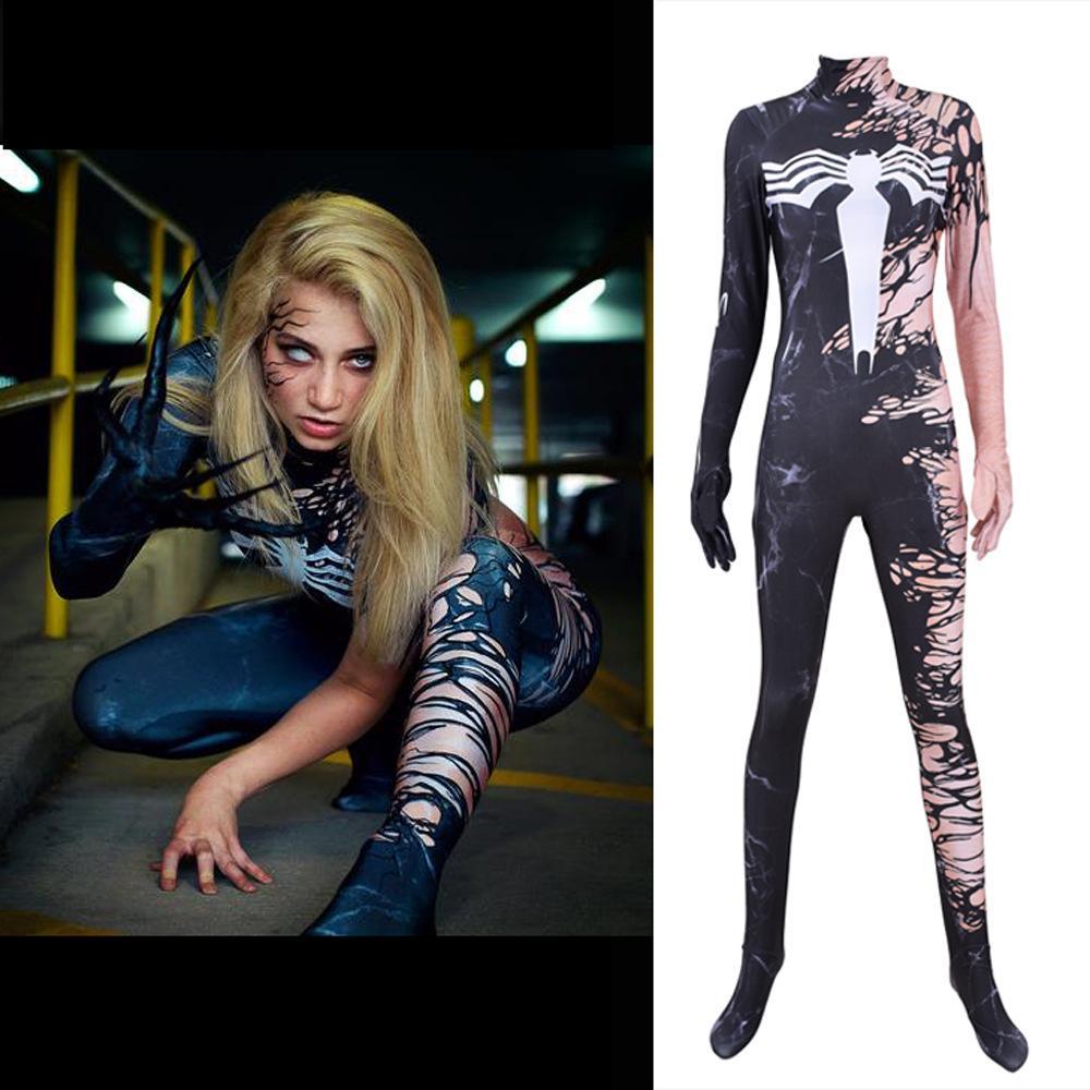 3D Imprimir Halloween Costume Cosplay Catsuit Adulto Menina da aranha Zentai Lycra Spandex Nia Teppelin Superhero