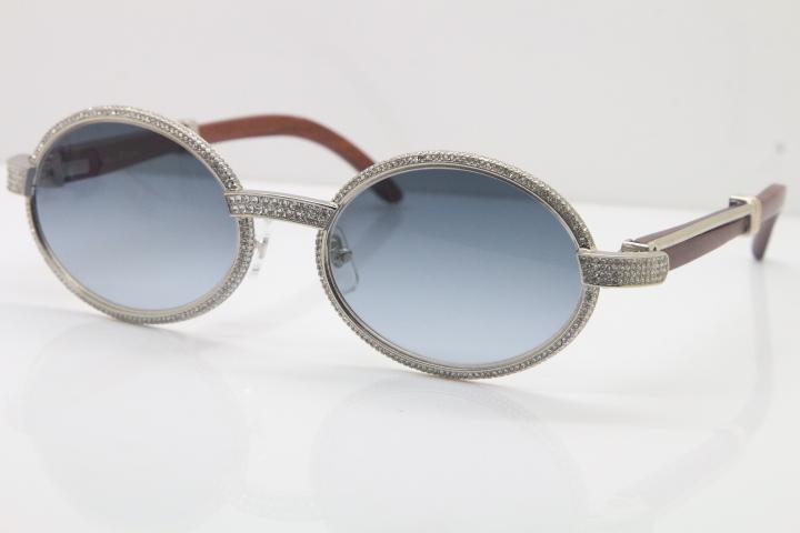 Atacado-Óculos De Madeira Full Frame óculos De Diamante 7550178 Óculos De Sol Redonda Do Vintage Unisex designer High end marca Óculos Tamanho: 55