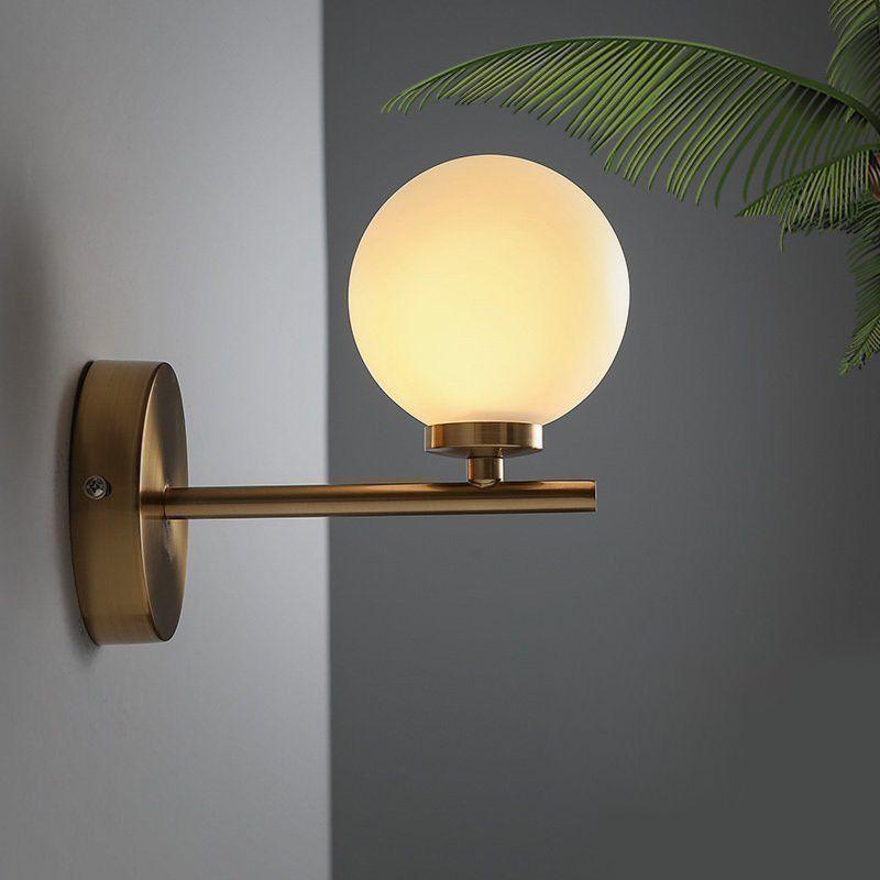 Nordic Copper Modern LED Wall Lamp Home Indoor Lighting Bathroom Mirror Light Glass Ball Wall Lights Fixtures
