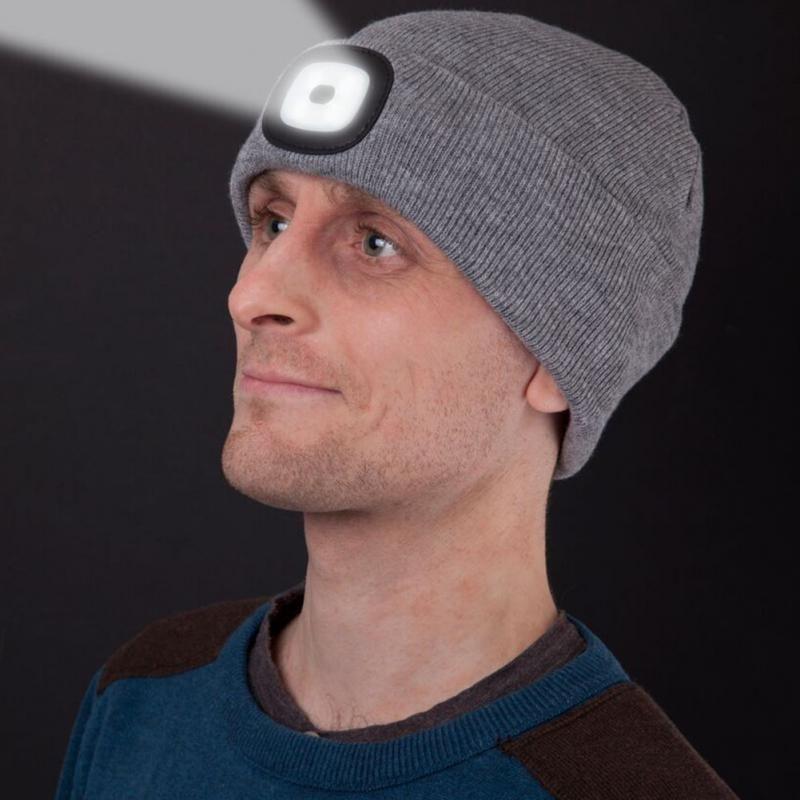 Унисекс Осень Зима LED Освещенные Cap Теплый Шапочки Открытый Рыбалка Бег Beanie Hat Flash фары Кемпинг Восхождение Колпачки # 1029