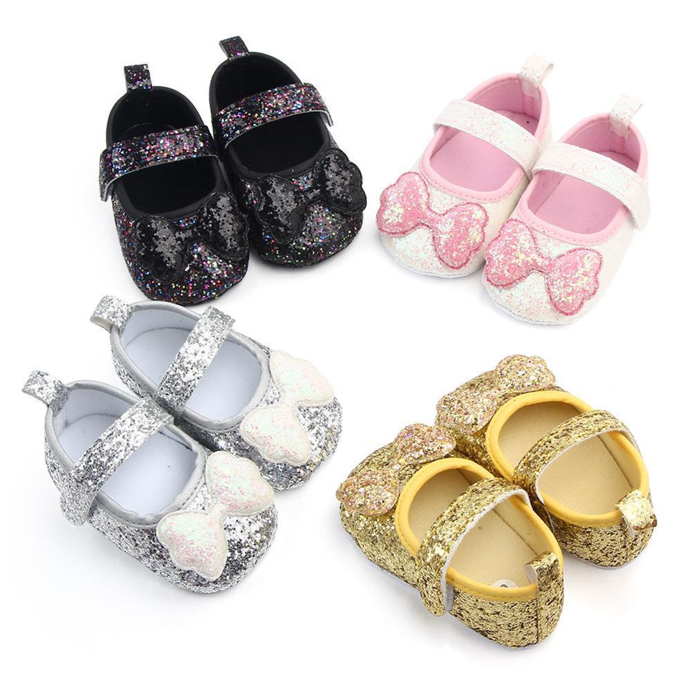 أحذية طفلة الصلبة اللون الترتر BOWKNOT مكافحة زلة شقة الأميرة أحذية أحذية Prewalker حذاء الطفل الأولى حمالات للبنات